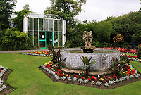 Pictured: View of the fountain in the Botanical Gardens. Friday 07 July 2017<br /> Re: Botanical Gardens in Singleton Park, Swansea, Wales, UK.