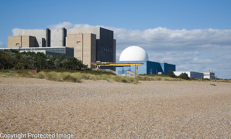 Concrete rectangle of decommissioned Sizewell A and white dome of Sizewell B nuclear power station, Suffolk, England