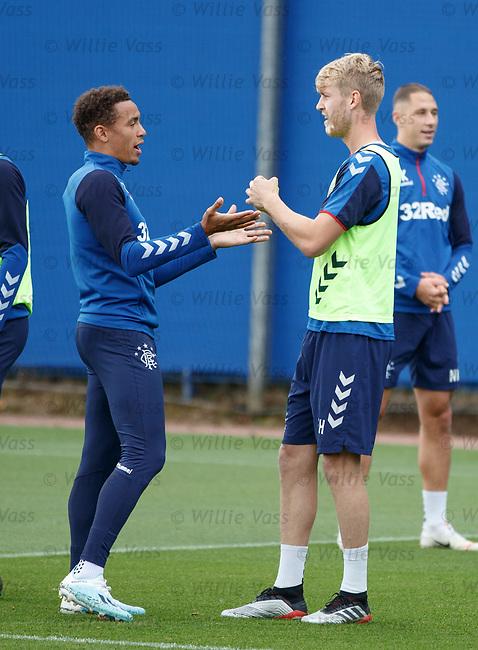 28.08.2019 Rangers training: Filip Helander mystified as James Tavernier explains