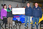 NAVAGATION:  On Saturday up in the Crash Repairs Depo, Monavalley, Industrail Estate, John Fitzgerald presented  a cheque of €6,440 with the help of Lisa O'Shea and Niall Lynch to Sean Prendergast the cheque was in aid of Cork/Kerry link Bus on Saturday.