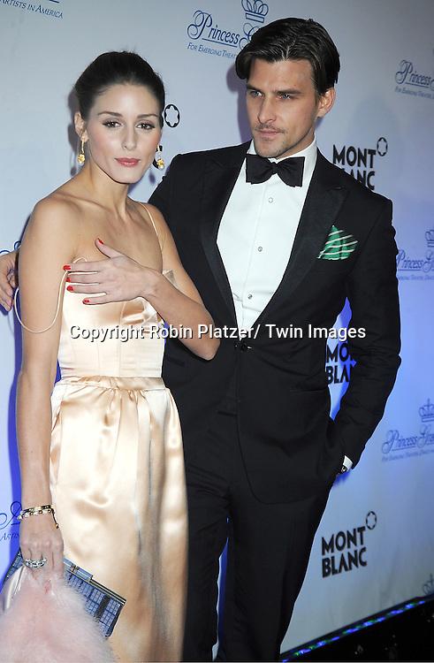 Olivia Palermo  and boyfriend Johannes Huebl attend The Princess Grace Foundation Awards Gala on .November 1, 2011 at Cipriani 42nd Street in New York City.