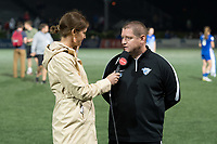Boston, MA - Friday July 07, 2017: Jordan Angeli and Boston Breakers head Coach Matt Beard during a postgame interview following a regular season National Women's Soccer League (NWSL) match between the Boston Breakers and the Chicago Red Stars at Jordan Field.