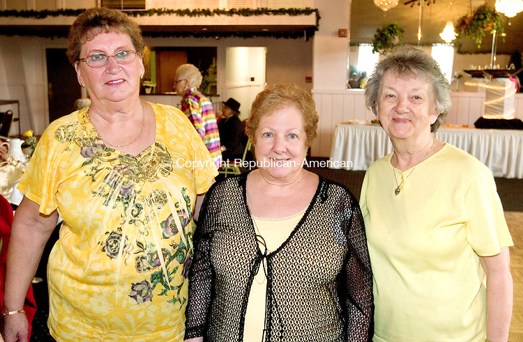 """NAUGATUCK, CT. 03 May 2010-050310SV10--From left, Dot Evon of Naugatuck, Shirley Guarino, of Naugatuck, Margaret Cobbl of Naugatuck attend the Naugatuck Woman's Club Annual Spring Banquet at the Continental Room in Naugatuck Monday. Ed Flynn, former host of """"Talk of the Town"""" on WATR Radio, was the guest speaker at the event. Steven Valenti Republican-American"""