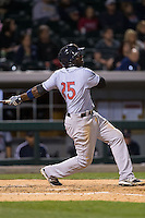 Jose Pirela (25) of the Scranton\Wilkes-Barre RailRiders follows through on his swing against the Charlotte Knights at BB&T BallPark on May 1, 2015 in Charlotte, North Carolina.  The RailRiders defeated the Knights 5-4.  (Brian Westerholt/Four Seam Images)