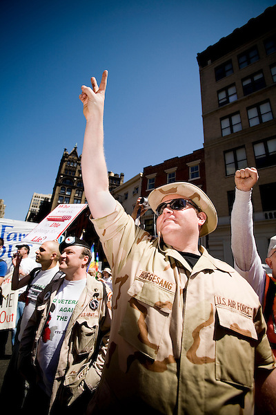 On April 29th, 2006 thousands of anti-war protesters rallied at Union Square in Manhattan and marched down Broadway to show their anger at the Bush administration for the continuing war in Iraq.. Ken Hofesang, US Airforce and member of Iraq Veterans Against the War.