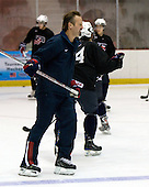 Mark Osiecki (US - Assistant Coach) - Team USA practiced on Friday, August 14, 2009, in the 1980/Herb Brooks (international-sized) Rink prior to their third game versus Team Russia during the 2009 USA Hockey National Junior Evaluation Camp in Lake Placid, New York.