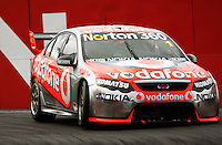 Team Vodafone's Jamie Whincup takes Holden Hairpin during Race Two during Day Three of the Hamilton 400 Aussie V8 Supercars Round Two at Frankton, Hamilton, New Zealand on Sunday, 19 April 2009. Photo: Dave Lintott / lintottphoto.co.nz
