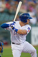 Round Rock Express third baseman Mike Olt (20) at bat against the Iowa Cubs in the Pacific Coast League baseball game on July 21, 2013 at the Dell Diamond in Round Rock, Texas. Round Rock defeated Iowa 3-0. (Andrew Woolley/Four Seam Images)