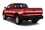 Car pictures of rear three quarter view of a 2018 Toyota Tundra SR 4.6L Double Cab Standard Bed 4 Door Pick Up angular rear