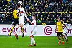 09.03.2019, Signal Iduna Park, Dortmund, GER, 1.FBL, Borussia Dortmund vs VfB Stuttgart, DFL REGULATIONS PROHIBIT ANY USE OF PHOTOGRAPHS AS IMAGE SEQUENCES AND/OR QUASI-VIDEO<br /> <br /> im Bild   picture shows:<br /> Kopfballduell zwischen Paco Alcacer (Borussia Dortmund #9) und Marc Oliver Kempf (VfB Stuttgart #4), <br /> <br /> Foto &copy; nordphoto / Rauch