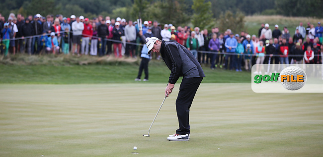 Bradley Dredge (WAL)  misses a putt for birdie on the first hole during the Final Round of the D&D Real Czech Masters 2014 from the Albatross Golf Resort, Vysoky Ujezd, Prague. Picture:  David Lloyd / www.golffile.ie