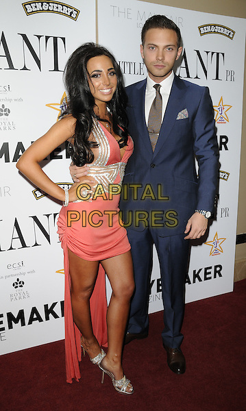 ROSIE COLICCI & MATT DI ANGELO .At the Joshua Foundation Gala Fundraiser, May Fair Hotel, London, England, UK, April 16th 2011..full length cleavage tanned fake tan orange coral  pink dress  silver hand on hip  open toe shoes  blue suit tie white shirt .CAP/CAN.©Can Nguyen/Capital Pictures.