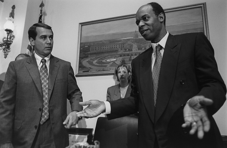 Rep. John Boehner, R-Ohio and Rep. William J. Jefferson, D-La., after House Oversight Task Force Subcommittee meeting to discuss the contested election. 1995 (Photo by Maureen Keating/CQ Roll Call via Getty Images)
