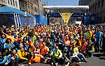 (Boston Ma 042014) Groups big and small stop to have pictures taken at  the finish line on Boylston Street in Boston Sunday, April 20, 2014, the day before the Boston Marathon. (Jim Michaud Photo) For Sunday