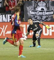 Goalie Nick Rimando #18 of Real Salt Lake during a game against D.C. United during the second half of the U.S. Open Cup Final on October  1, 2013 at Rio Tinto Stadium in Sandy, Utah. DC United beat Real Salt Lake 1-0 to win the championship.