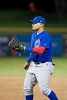 AZL Cubs first baseman Luis Hidalgo (18) gets ready to catch a ball thrown by catcher Marcus Mastrobuoni (not pictured) during Game Three of the Arizona League Championship Series against the AZL Giants on September 7, 2017 at Scottsdale Stadium in Scottsdale, Arizona. AZL Cubs defeated the AZL Giants 13-3 to win the series two games to one. (Zachary Lucy/Four Seam Images)