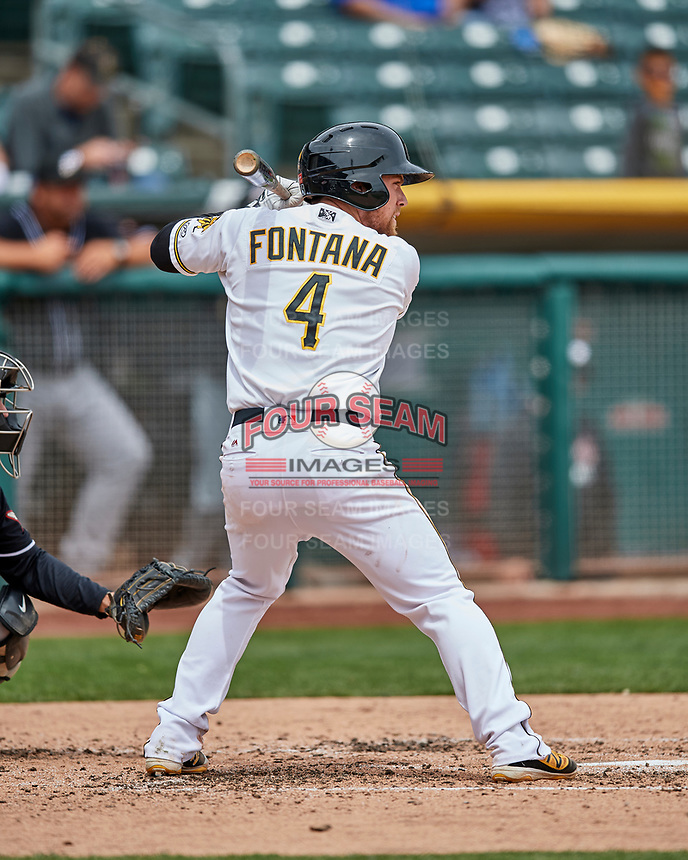 Nolan Fontana (4) of the Salt Lake Bees at bat against the El Paso Chihuahuas in Pacific Coast League action at Smith's Ballpark on April 30, 2017 in Salt Lake City, Utah. El Paso defeated Salt Lake 3-0. This was Game 1 of a double-header. (Stephen Smith/Four Seam Images)