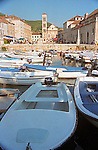 Boats along the waterfront on the island of Hvar, Croatia.