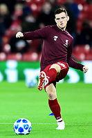 Liverpool's Andrew Robertson warms up<br /> <br /> Photographer Richard Martin-Roberts/CameraSport<br /> <br /> UEFA Champions League Group C - Liverpool v Crvena Zvezda - Wednesday 24th October 2018 - Anfield - Liverpool<br />  <br /> World Copyright © 2018 CameraSport. All rights reserved. 43 Linden Ave. Countesthorpe. Leicester. England. LE8 5PG - Tel: +44 (0) 116 277 4147 - admin@camerasport.com - www.camerasport.com