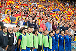 Spain's with supporters on the background during match between Spain and Italy to clasification to World Cup 2018 at Santiago Bernabeu Stadium in Madrid, Spain September 02, 2017. (ALTERPHOTOS/Borja B.Hojas)