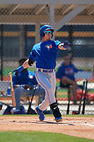 Toronto Blue Jays Griffin Conine (17) hits a home run during a Minor League Spring Training game against the Detroit Tigers on March 22, 2019 at the TigerTown Complex in Lakeland, Florida.  (Mike Janes/Four Seam Images)