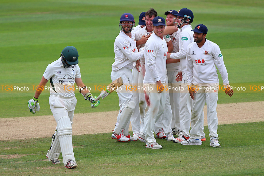 David Masters of Essex celebrates taking the wicket of Daryl Mitchell (L) with his team mates during Essex CCC vs Worcestershire CCC, Specsavers County Championship Division 2 Cricket at the Essex County Ground on 2nd September 2016