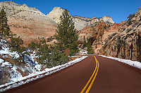 Views from the  Zion National Park Utah, during winter.