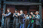 Ben Fankhauser, Jeremy Jordan, xx, Luke Edwards, Arvie Lowe, Jr. Curtain call of The Newsies - Fan Day at The Paper Mill Playhouse on October 2, 2010 in Millburn, New Jersey with current cast members and cast members of the film. It was a day of events to all devoted fans of Newsies - Radio Disney at 4 pm, executive reception for members of the original cast of Newsies (the movie) followed by a talkback, Q&A in the theater - all this followed by the evening performance of Newsies with the Curtain Call, old cast meets new cast and a cast photo of all. (Photo by Sue Coflin/Max Photos)