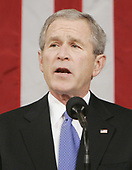former United States President George W. Bush gives his fifth State of the Union speech Tuesday, January 31, 2006, on Capitol Hill in Washington, DC. <br /> Credit: Pablo Martinez Monsivais / Pool via CNP