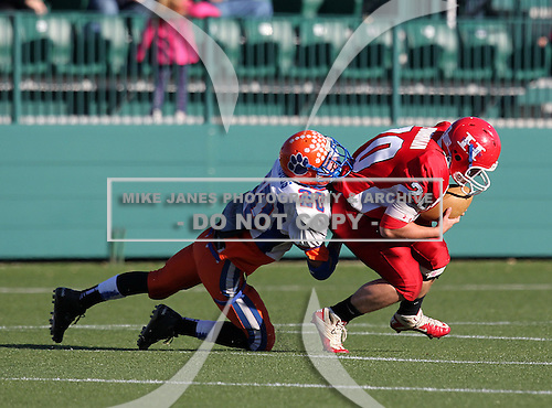 Livonia Bulldogs varsity football against the Hornell Red Raiders during the Class-B Section V Championship at Sahlen's Stadium in Rochester, New York on November 5, 2011.  (Photo Copyright Mike Janes Photography 2011)