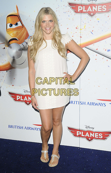 Anna Williamson<br /> The &quot;Planes 3D&quot; VIP film screening, Odeon Leicester Square, Leicester Square, London, England.<br /> July 14th, 2013<br /> full length white dress hand on hip<br /> CAP/CAN<br /> &copy;Can Nguyen/Capital Pictures