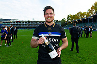 Bath Rugby Man of the Match Francois Louw poses with his bottle of Pol Roger champagne after the match. Heineken Champions Cup match, between Bath Rugby and Stade Toulousain on October 13, 2018 at the Recreation Ground in Bath, England. Photo by: Patrick Khachfe / Onside Images