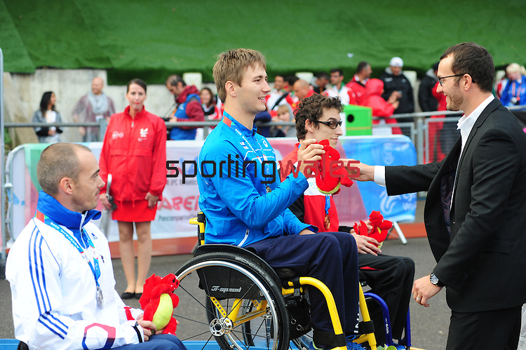 IPC European Athletics Championship 2014<br /> Swansea University<br /> <br /> Medal ceremony: Men's 200m T34.<br /> <br /> 21.08.14<br /> Chris Vaughan-SPORTINGWALES