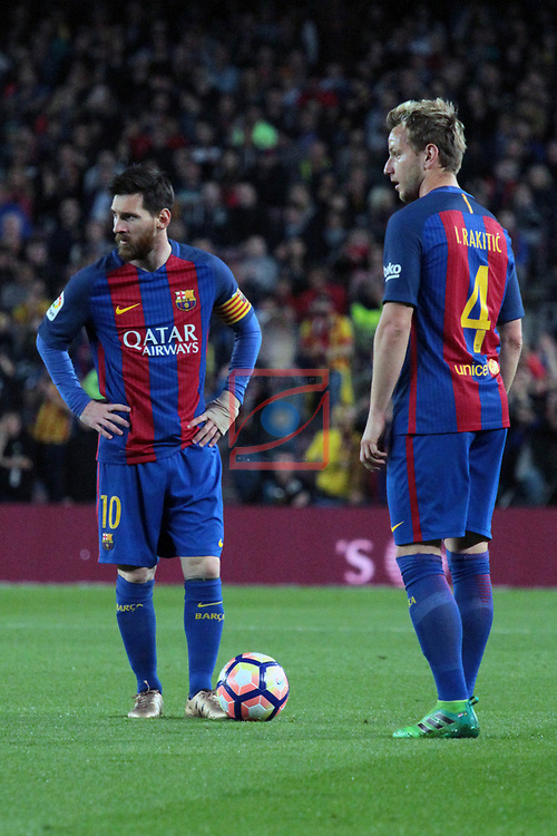 League Santander 2016/2017. Game: 32.<br /> FC Barcelona vs Real Sociedad: 3-2.<br /> Lionel Messi &amp; Ivan Rakitic.