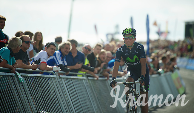 Nairo Quintana (COL) descending to the teambus after finishing up Haytor<br /> <br /> 2013 Tour of Britain<br /> stage 6: Sidmouth to Haytor (Dartmorr): 137km