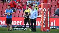 JOHANNESBURG, SOUTH AFRICA - APRIL 30:  Otere Black of the Hurricanes with Jason Holland (left, assistant coach) Chris Boyd (Hurricanes head coach) during the Super Rugby match between Emirates Lions and Hurricanes at Emirates Airline Park on April 30, 2016 in Johannesburg, South Africa. (Photo by Steve Haag)