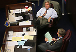 Nevada Sens. Tick Segerblom, D-Las Vegas, top, and Greg Brower, R-Reno work during a break on the Senate floor at the Legislative Building in Carson City, Nev., on Sunday, June 2, 2013. Lawmakers continue working long hours as the final, end-of-session deadline of midnight Monday approaches. (AP Photo/Cathleen Allison)