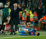 Carlo Ancelotti manager of Napoli rages following the foul on his player Giovanni Di Lorenzo of Napoli during the UEFA Champions League match at Anfield, Liverpool. Picture date: 27th November 2019. Picture credit should read: Andrew Yates/Sportimage
