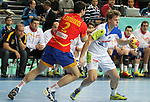 25.01.2013 Barcelona, Spain. IHF men's world championship, Semi-final. Picture show Jure Dolenec  in action during game between Spain vs Slovenia at Palau St. Jordi