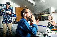 Reporter Harry Wallop takes a Puff, Pass and Paint marijuana painting class with painting instructor Chris Eldert (left) and Leslie Moffatt (cq, right) in Denver, Colorado, Thursday September 29, 2016.<br /> <br /> Photo by Matt Nager