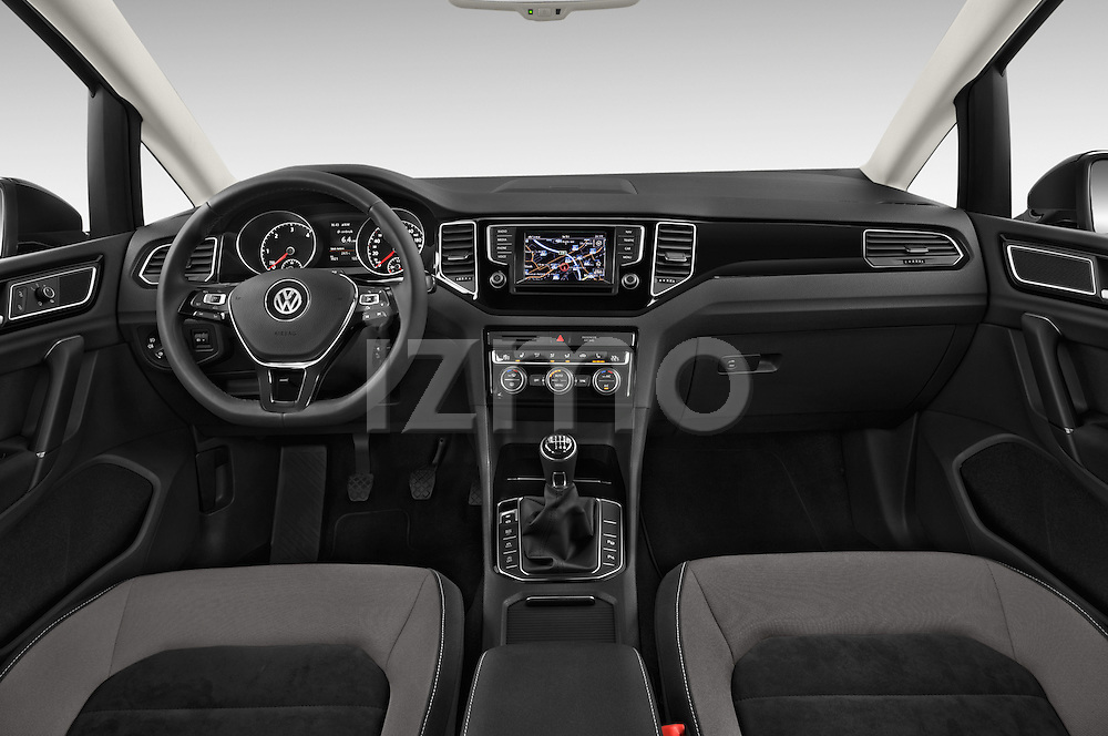Stock photo of straight dashboard view of a 2014 Volkswagen GOLF SPORTSVAN Highline 5 Door Mini MPV 2WD Dashboard