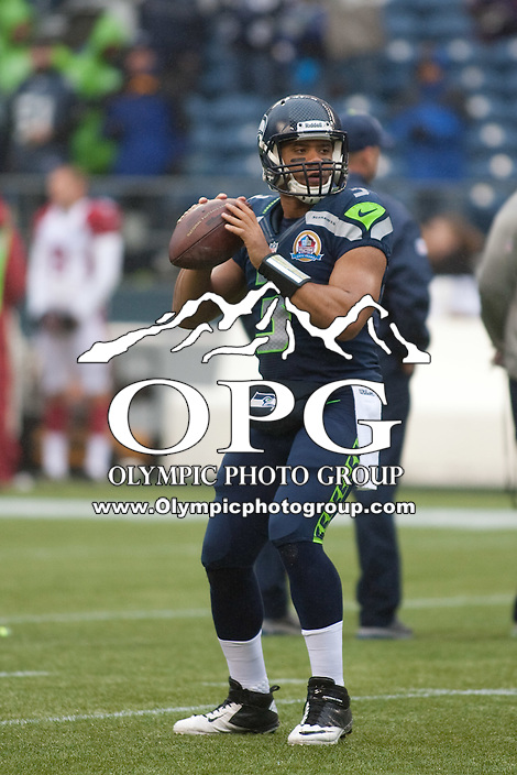 DEC 09, 2012:  Seattle's Russell Wilson against Arizona.  Seattle defeated Arizona 58-0 at CenturyLink Field in Seattle, WA...