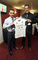 Sunday, 26 April 2014<br /> Pictured L-R: Leon Britton and Darren davies at the St Helen's Lounge.<br /> Re: Barclay's Premier League, Swansea City FC v Aston Villa at the Liberty Stadium, south Wales.