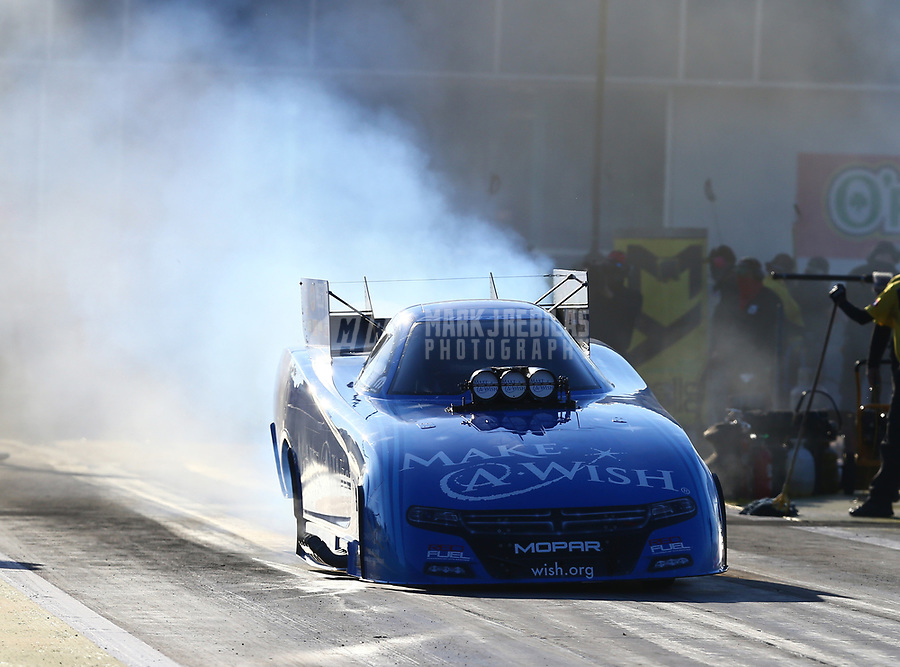 Mar 17, 2017; Gainesville , FL, USA; NHRA funny car driver Tommy Johnson Jr during qualifying for the Gatornationals at Gainesville Raceway. Mandatory Credit: Mark J. Rebilas-USA TODAY Sports
