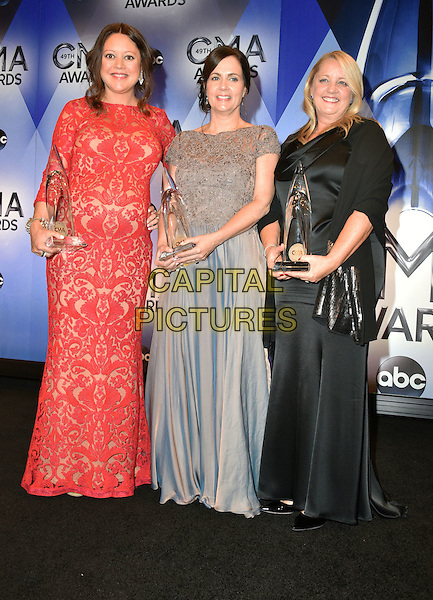 04 November 2015 - Nashville, Tennessee - Hillary Lindsey, Lori McKenna, Liz Rose. 49th Annual CMA Awards, CMA Awards 2015, Country Music's Biggest Night, held at Bridgestone Arena. <br /> CAP/ADM<br /> &copy;ADM/Capital Pictures