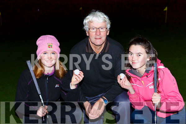 Eva Quinn, Enda Curtayne and Imogen O'Connor who competed  in the Killarney rotary club night golf in O'Mahonys Point on Friday