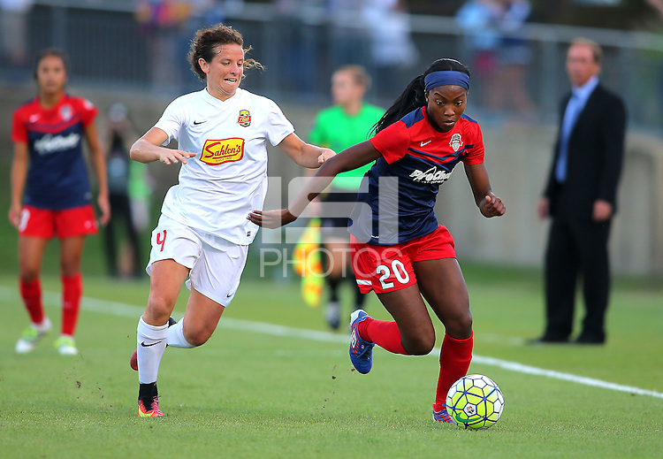 Boyds, MD - Saturday Sept. 03, 2016: Elizabeth Eddy, Cheyna Williams during a regular season National Women's Soccer League (NWSL) match between the Washington Spirit and the Western New York Flash at Maureen Hendricks Field, Maryland SoccerPlex.
