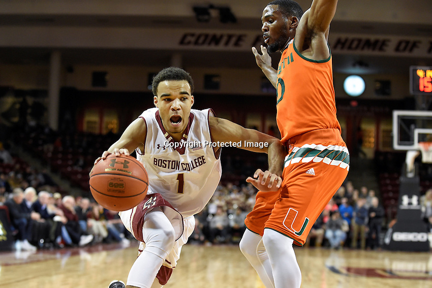 Wednesday January 20, 2016: Boston College Eagles guard Jerome Robinson (1) works against Miami (Fl) Hurricanes guard Ja'Quan Newton (0) during the second half of the NCAA men's basketball game between the Miami Hurricanes and the Boston College Eagles at Conte Forum, in Chestnut Hill, Mass.  Miami beats Boston 67-53. Eric Canha/CSM