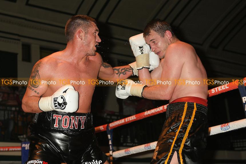 Tony Conquest (black shorts) defeats Jiri Svanica - Boxing at York Hall, Bethnal Green, London - 11/06/15 - MANDATORY CREDIT: Philip Sharkey/TGSPHOTO - Self billing applies where appropriate - contact@tgsphoto.co.uk - NO UNPAID USE