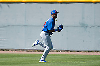 Chicago Cubs right fielder Jonathan Sierra (22) during a Minor League Spring Training game against the Oakland Athletics at Sloan Park on March 19, 2018 in Mesa, Arizona. (Zachary Lucy/Four Seam Images)